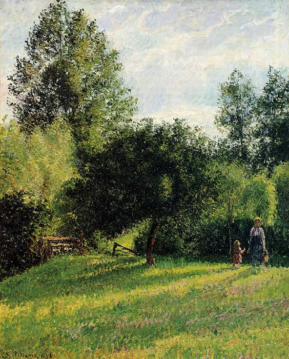 Apple Trees, Sunset, Eragny. (1896). Camille Pissarro