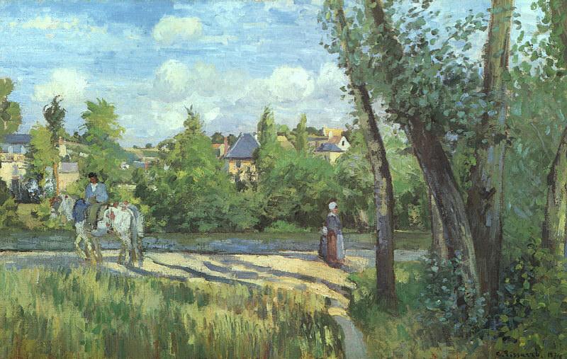Pissarro Sunlight on the Road- Pontoise, 1874, oil on canvas. Camille Pissarro