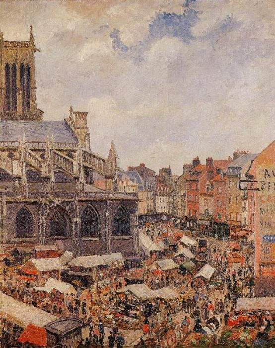 The Market by the Church of Saint-Jacques, Dieppe. (1901). Camille Pissarro