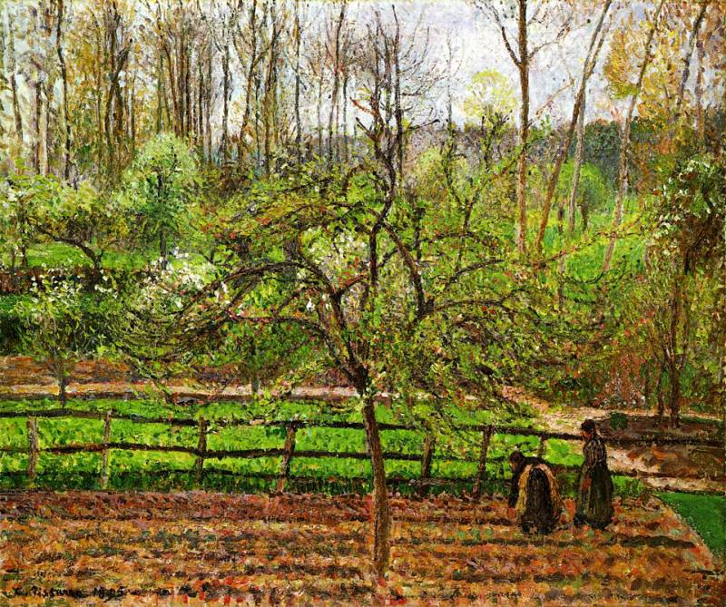 Spring, Gray Weather, Eragny. (1895). Camille Pissarro