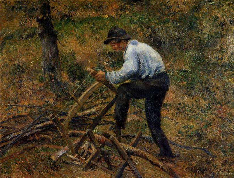 Pere Melon Sawing Wood. (1879). Camille Pissarro