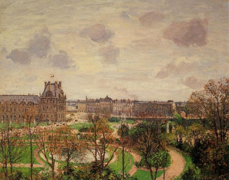 Garden of the Louvre - Morning, Grey Weather. (1899). Camille Pissarro