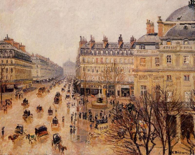Площадь Французсколго Театра - Впечатление от дождя (1898). Камиль Писсарро