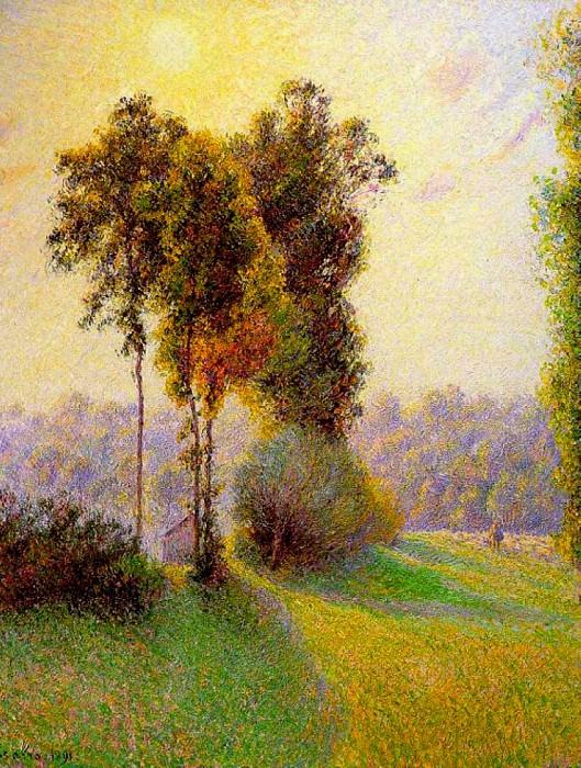 Sunset at Sent Charlez. Eragny. 1891. Camille Pissarro