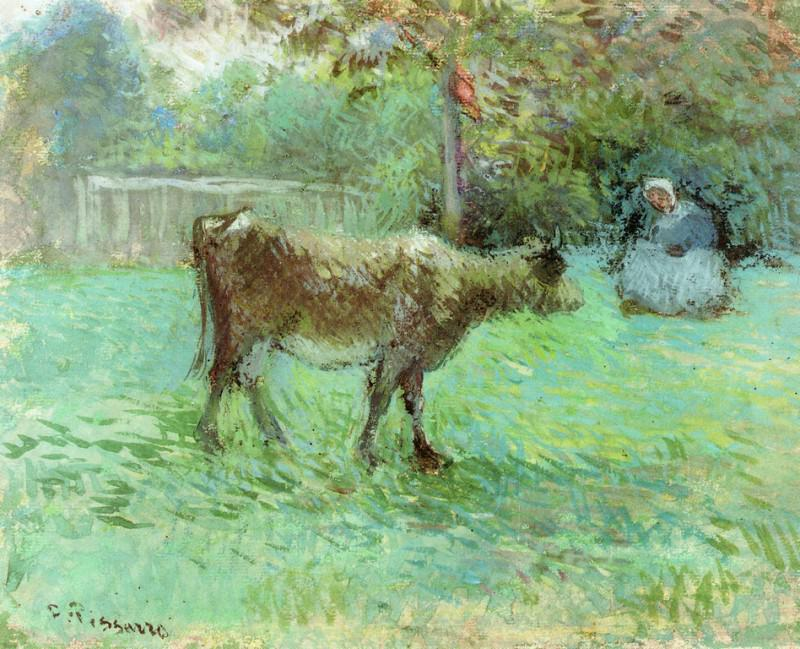 The Cowherd. (1883-88). Camille Pissarro