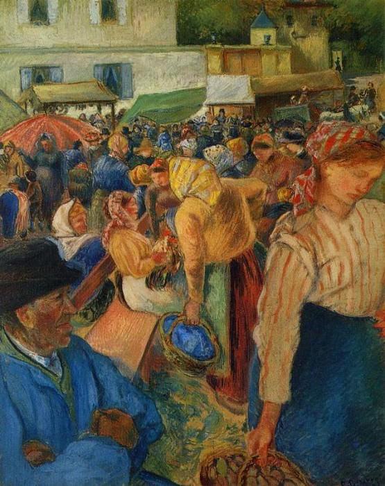 Poultry Market, Pontoise. (1892). Camille Pissarro