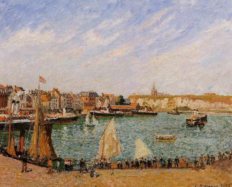 Afternoon, Sun, the Inner Harbor, Dieppe. (1902). Camille Pissarro