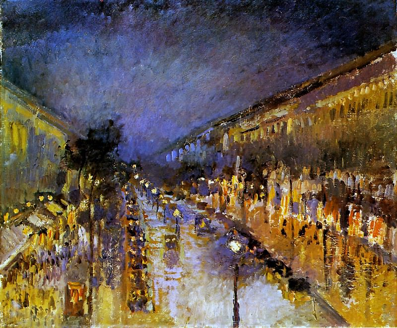 Boulevard Montmartre at Night. Camille Pissarro