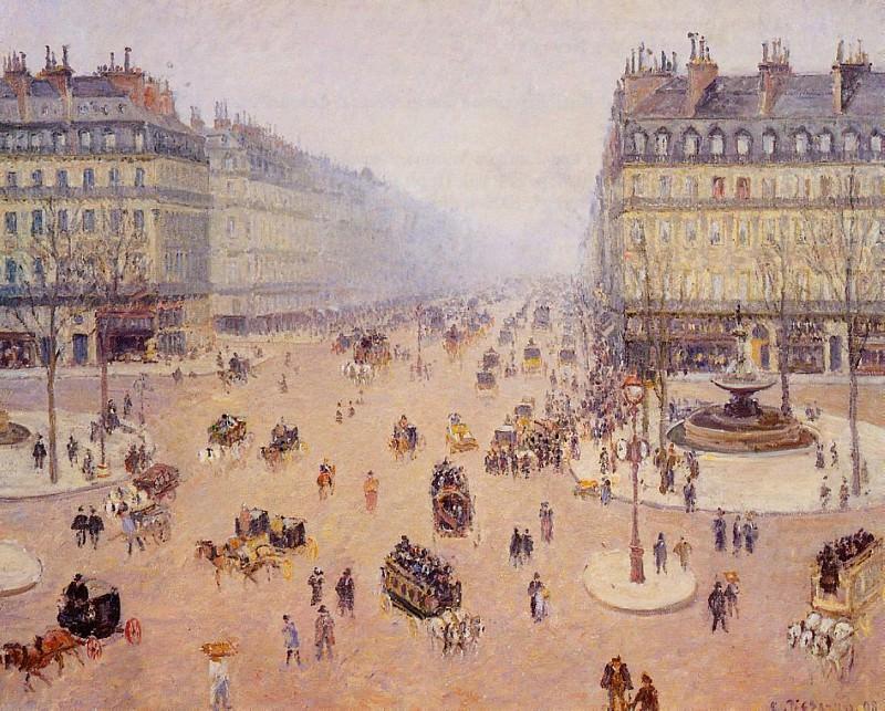 Avenue de lOpera, Place du Thretre Francais - Misty Weather. (1898). Camille Pissarro