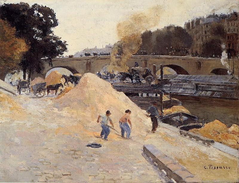 The Banks of the Seine in Paris, Pont Marie, Quai dAnjou. (1875). Camille Pissarro