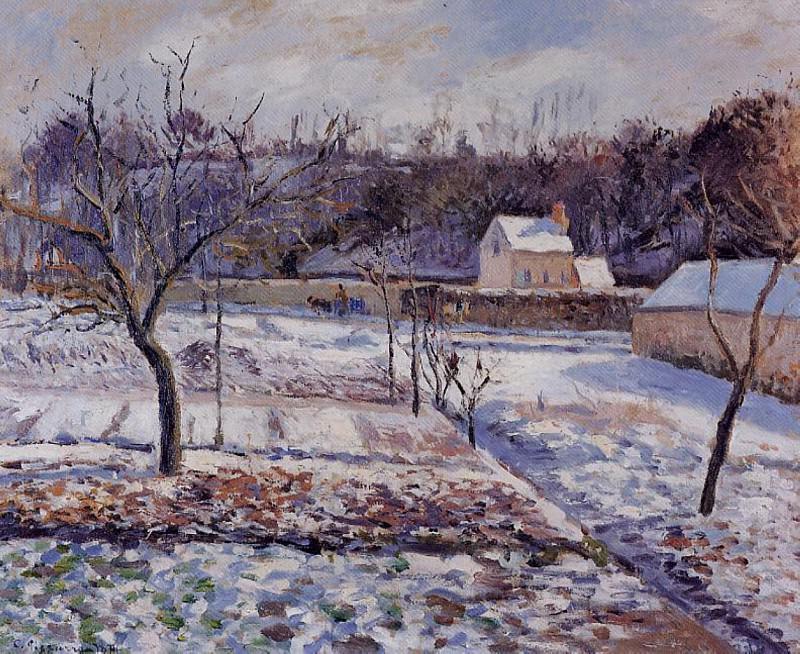 LHermitage, Pontoise - Snow Effect. (1874). Camille Pissarro