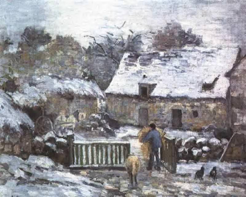 Farm at Montfoucault 2. (1874). Camille Pissarro