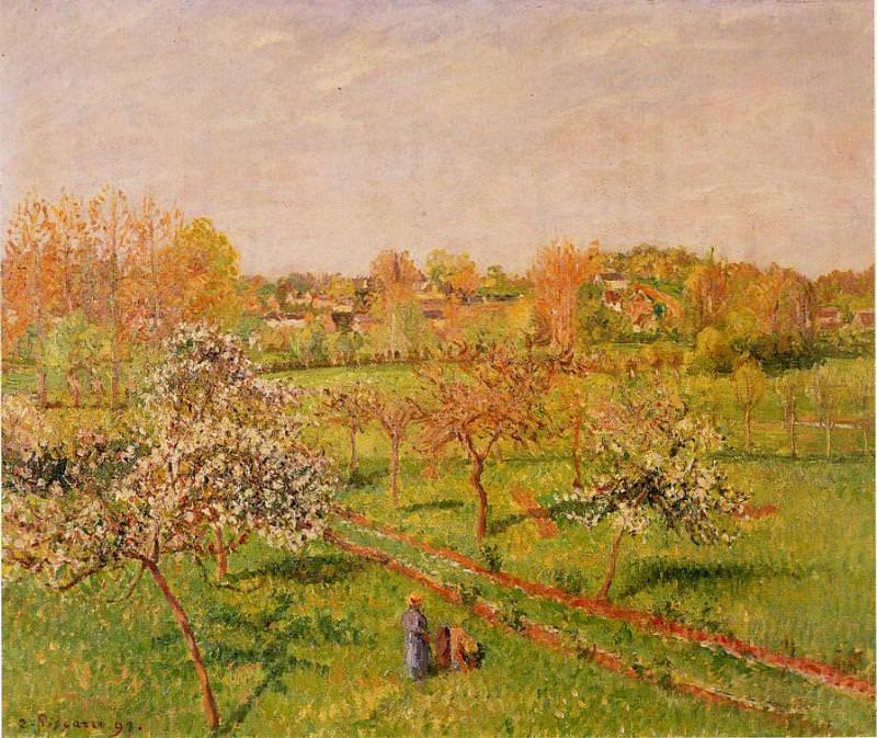 Утро, цветущие яблони, Эраньи (1898). Камиль Писсарро