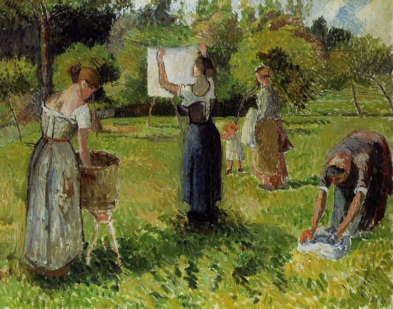 Laundresses at Eragny. (1901). Camille Pissarro