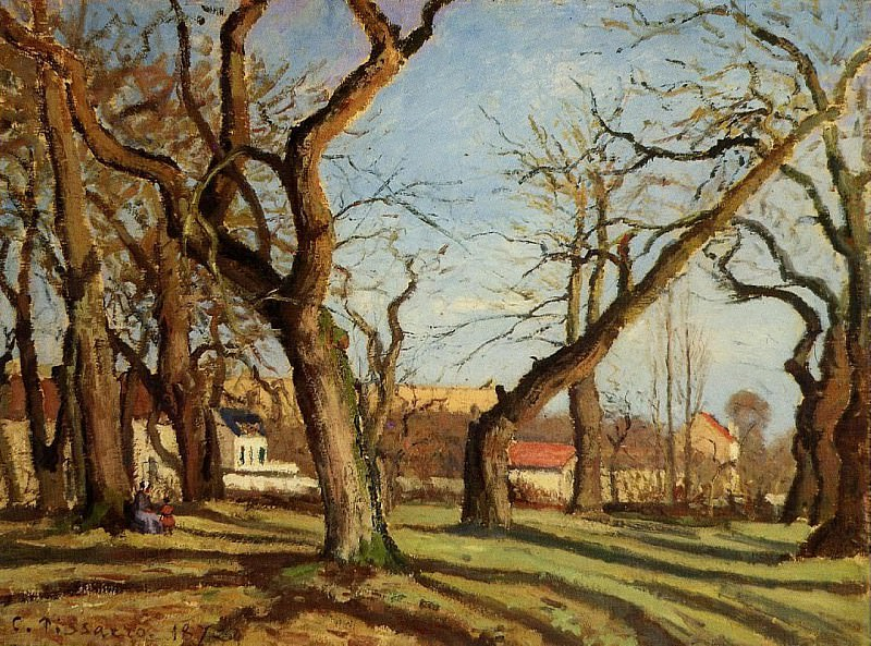 Groves of Chestnut Trees at Louveciennes. (1872). Camille Pissarro