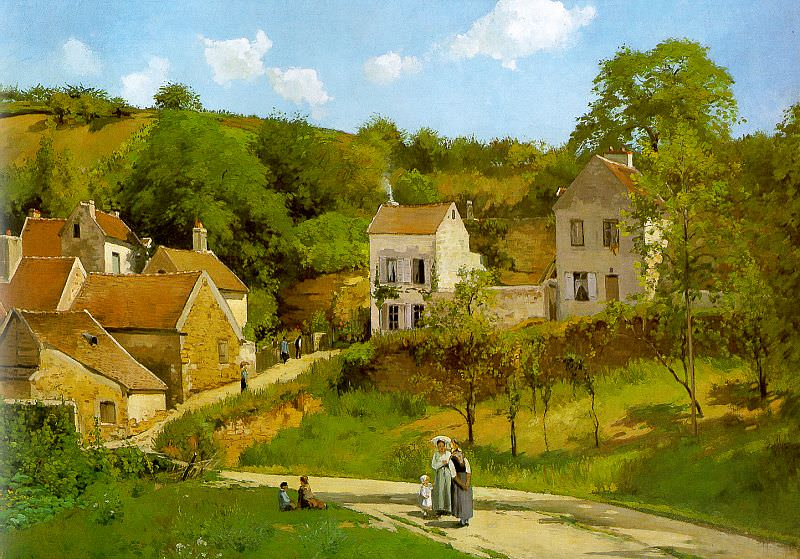 Pissarro The Hermitage at Pontoise, 1867, Solomon R. Guggenh. Camille Pissarro