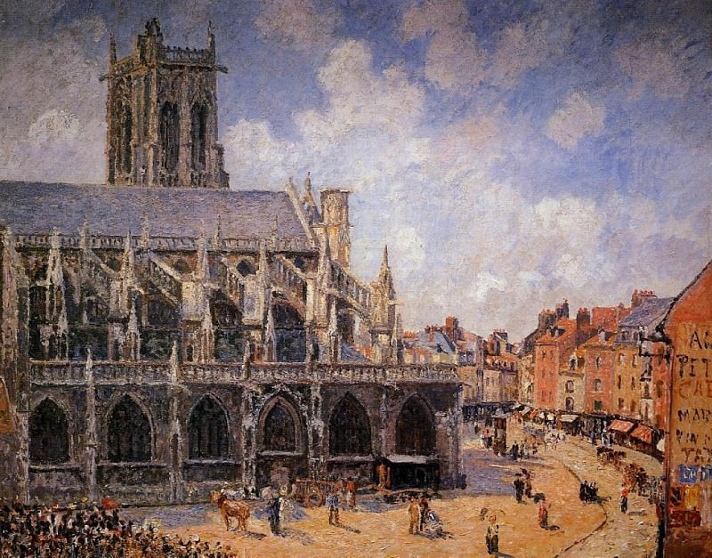 The Church of Saint-Jacques, Dieppe - Morning Sun. (1901). Camille Pissarro