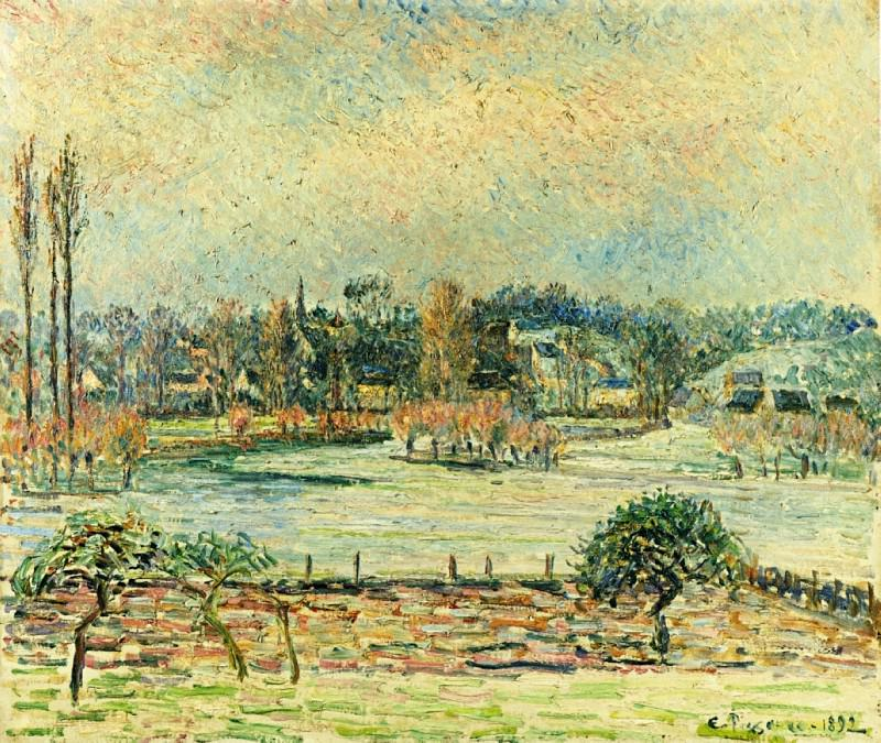 View of Bazincourt, Flood, Morning Effect. (1892). Camille Pissarro