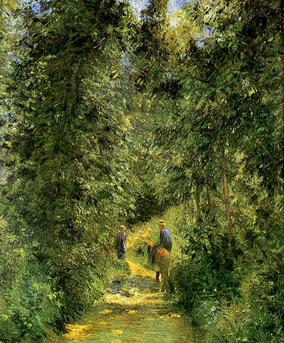 Path in the woods in summer. Camille Pissarro