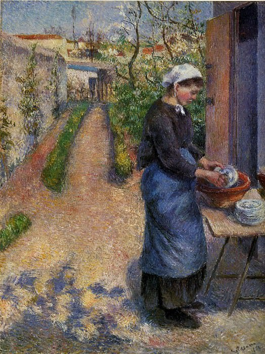 Young Woman Washing Plates. (1882). Camille Pissarro