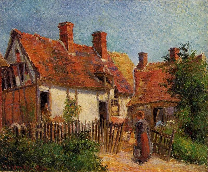 Old Houses at Eragny. (1885). Camille Pissarro