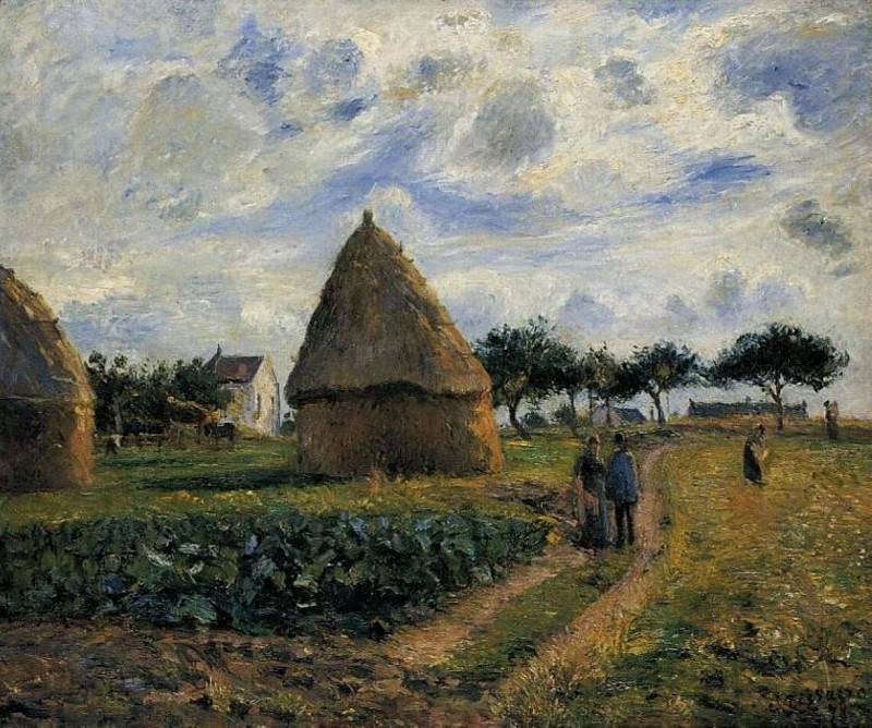 Peasants and Hay Stacks. (1878). Camille Pissarro