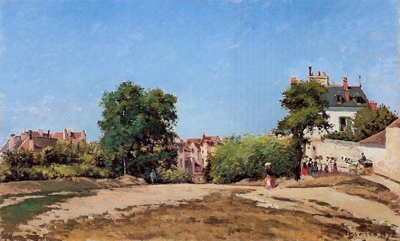 The Crossroads, Pontoise. (1872). Camille Pissarro