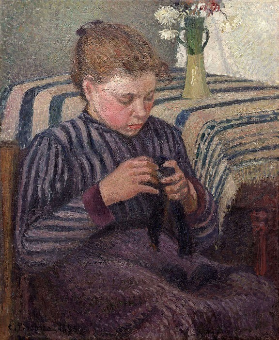 Young Girl Mending Her Stockings. (1895). Camille Pissarro