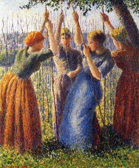 Peasant Women Planting Stakes. (1891). Camille Pissarro