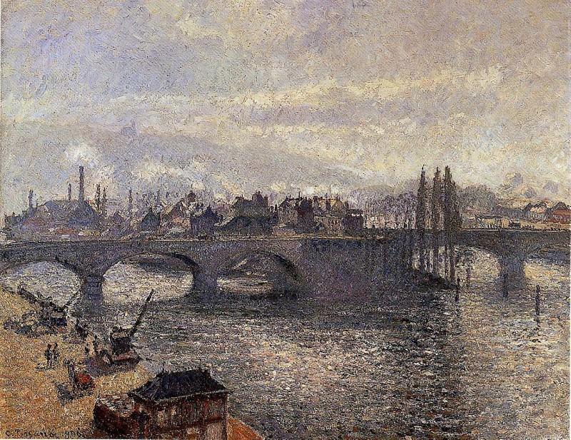 The Pont Corneille , Rouen - Morning Effect. (1896). Camille Pissarro