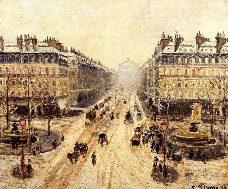 Avenue de lOpera - Snow Effect. (1898). Camille Pissarro