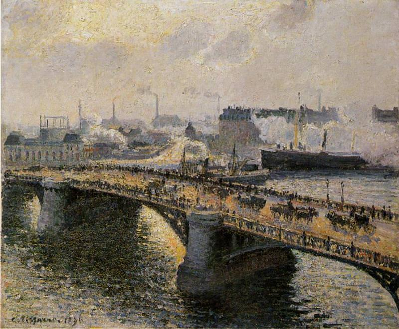 Мост Буаэльдьё в Руане - Закат, вечерний туман (1896). Камиль Писсарро