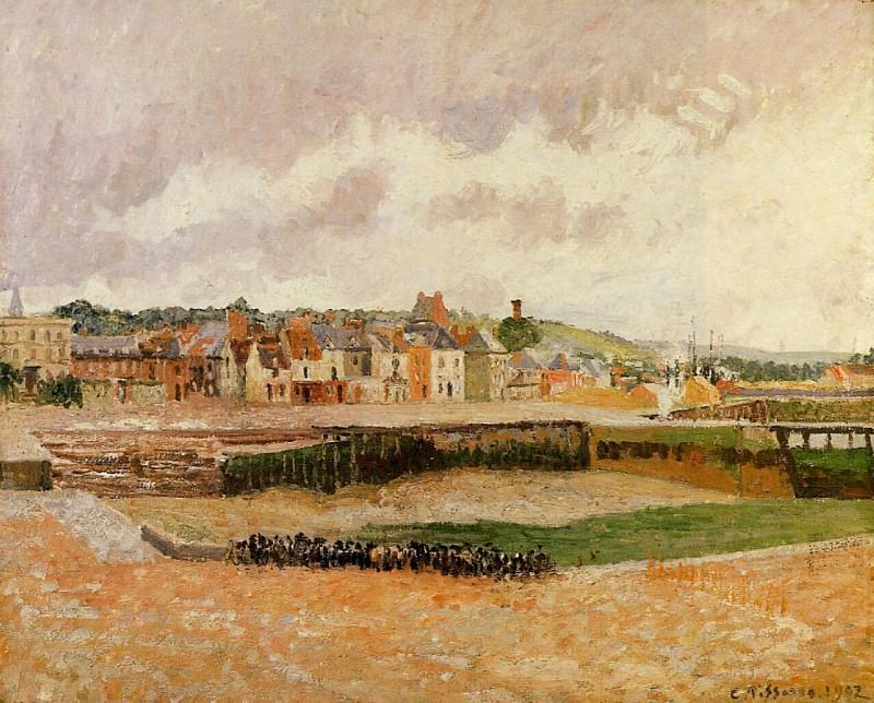 Afternoon, the Dunquesne Basin, Dieppe, Low Tide. (1902). Camille Pissarro