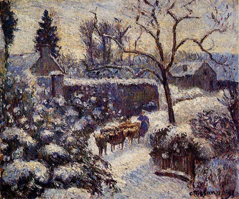 The Effect of Snow at Montfoucault. (1891). Camille Pissarro