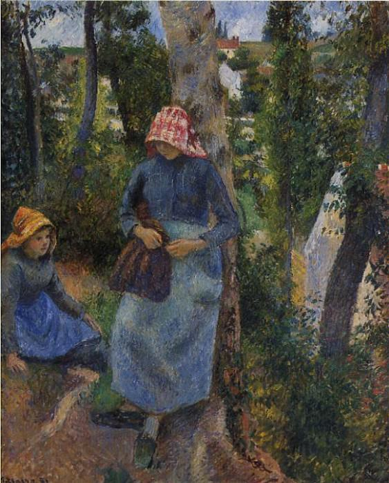 Two Young Peasants Chatting under the Trees. (1881). Camille Pissarro
