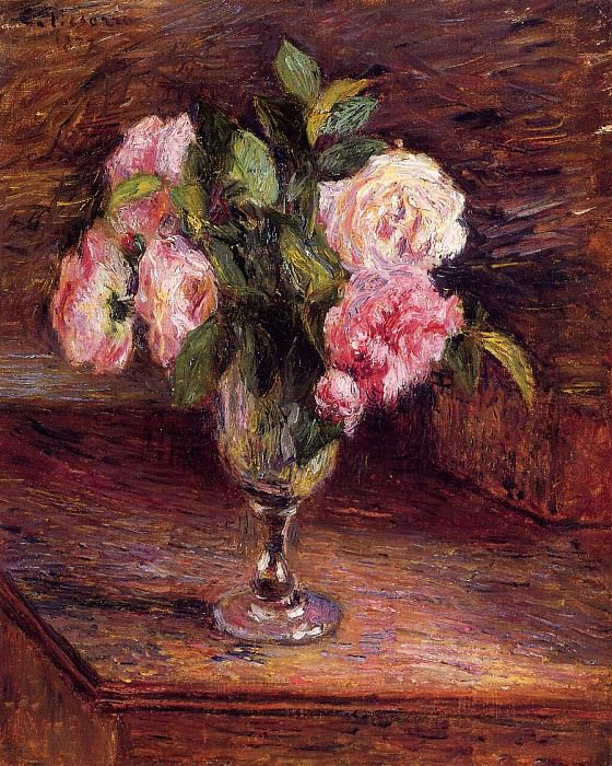 Roses in a Glass. (1877). Camille Pissarro