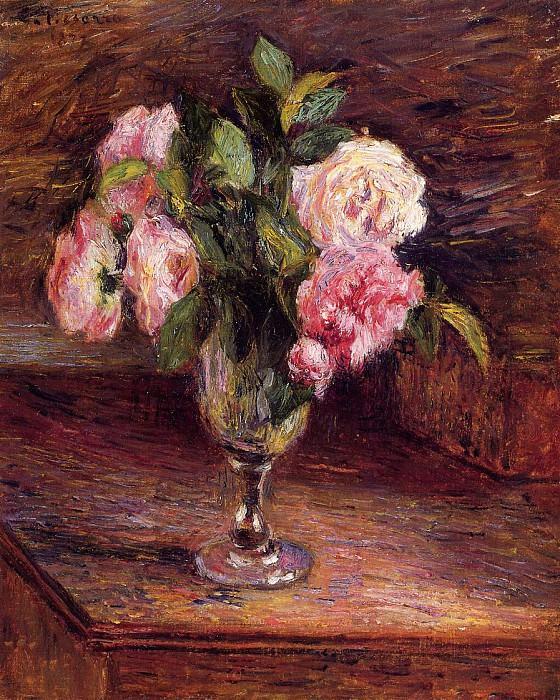 Розы в стеклянном бокале. Камиль Писсарро