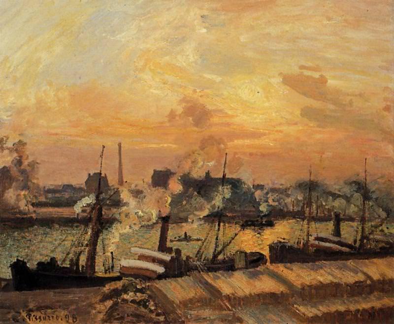Boats, Sunset, Rouen. (1898). Camille Pissarro