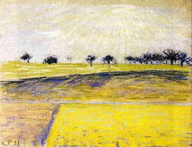 Восход над полями, Эраньи (1891). Камиль Писсарро
