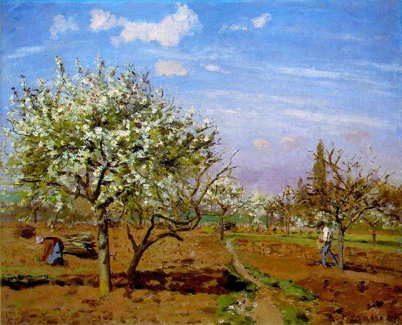 Orchard in Blossom, Louveciennes. (1872). Camille Pissarro