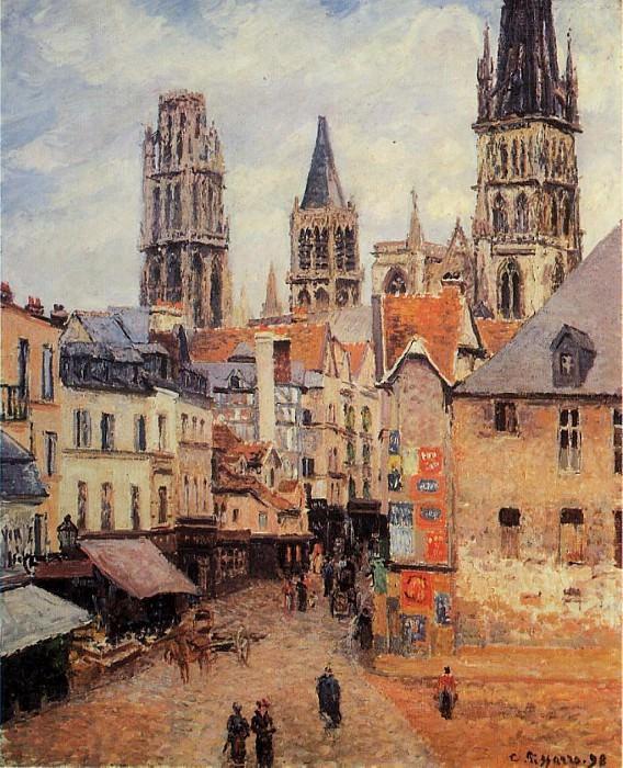 Улица л Эпписери, Руан - Утро, пасмурная погода (1898). Камиль Писсарро