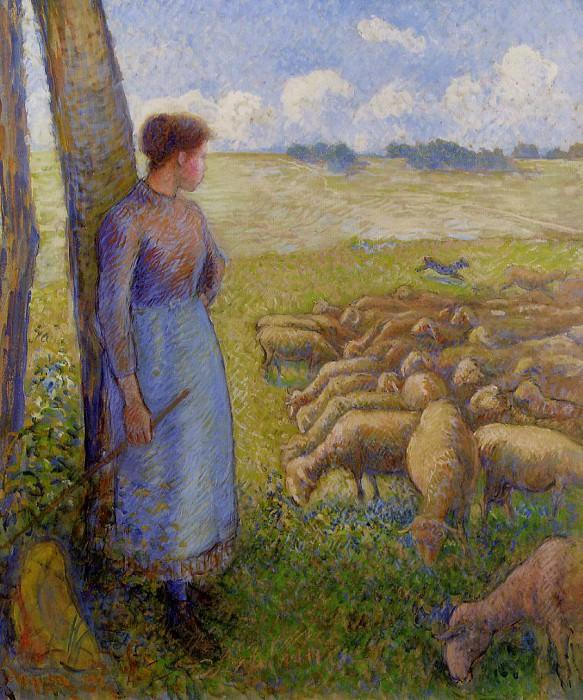 Shepherdess and Sheep. (1887). Camille Pissarro