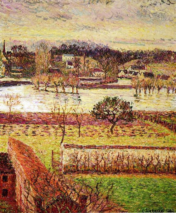 Flood, Twilight Effect, Eragny. (1893). Camille Pissarro