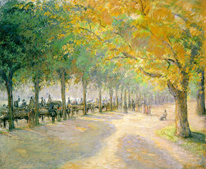Pissarro Hyde Park, London, 1890, soaked color on paper laid. Camille Pissarro