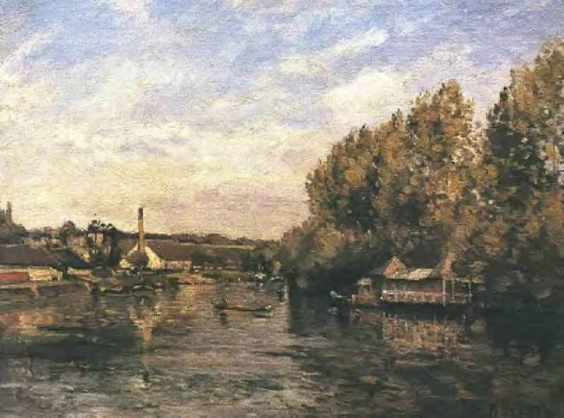 Le Grenouillere at Bougival. (1869). Camille Pissarro