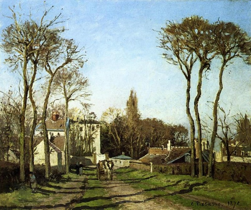 Entering the Village of Voisins. (1872). Camille Pissarro