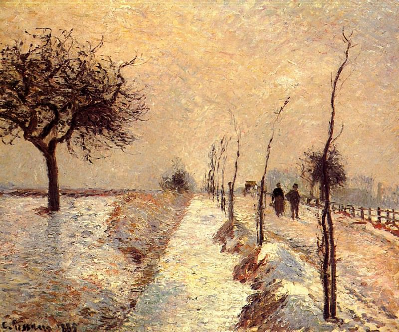 Дорога в Эраньи зимой (1885). Камиль Писсарро