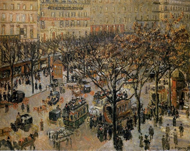 Итальянский бульвар - Утро, солнечный свет (1897). Камиль Писсарро