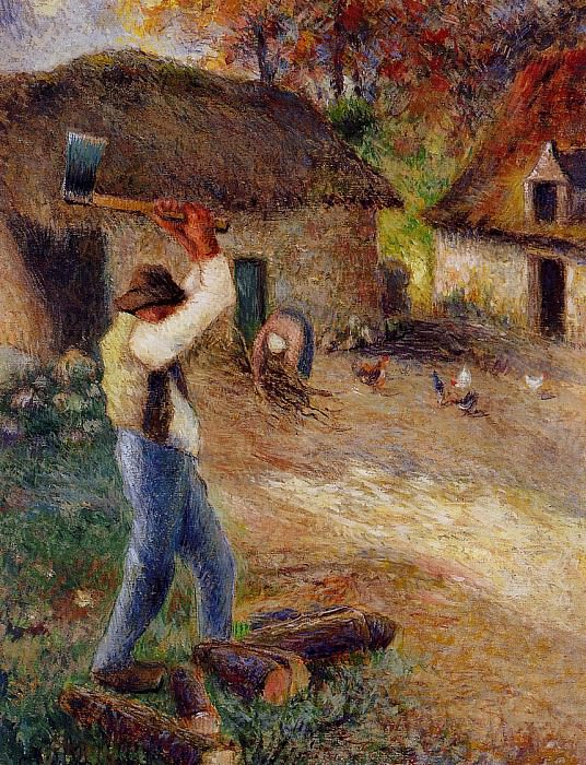 Pere Melon Cutting Wood. (1880). Camille Pissarro