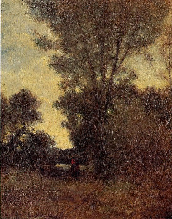 Horseman in the Forest. Camille Pissarro